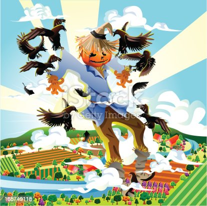 Vector illustration of a Scarecrow Flying with Crow.