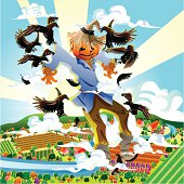 Scarecrow Flying with Crow