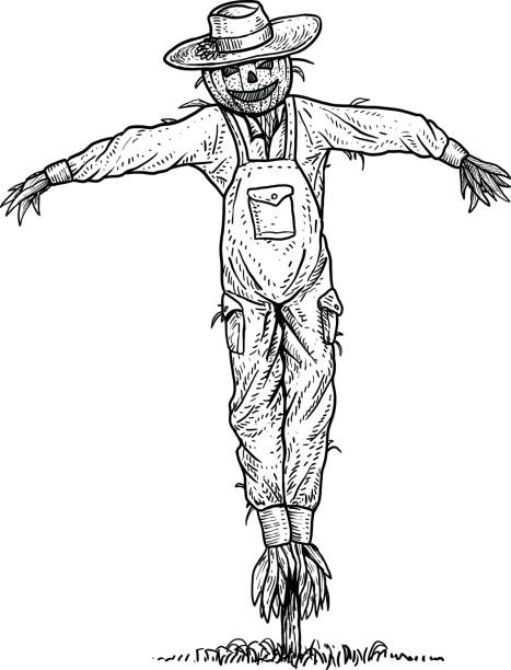 drawing of scarecrow outline clip art vector images illustrations