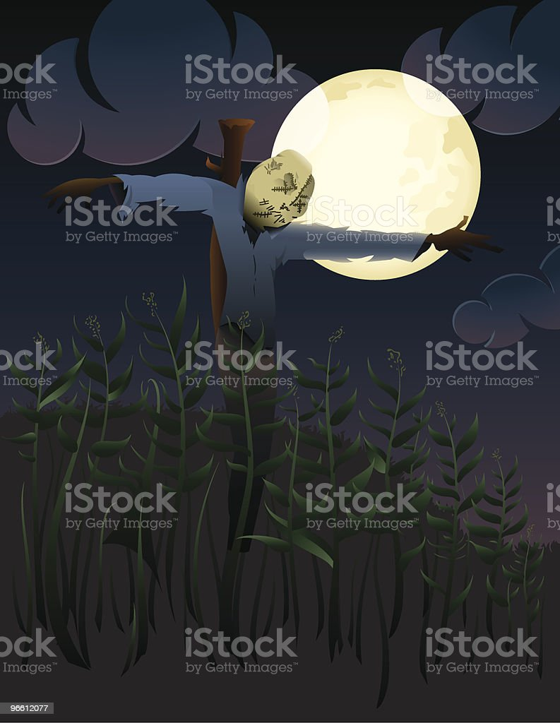 Scarecrow in corn field - Royalty-free Bescherming vectorkunst
