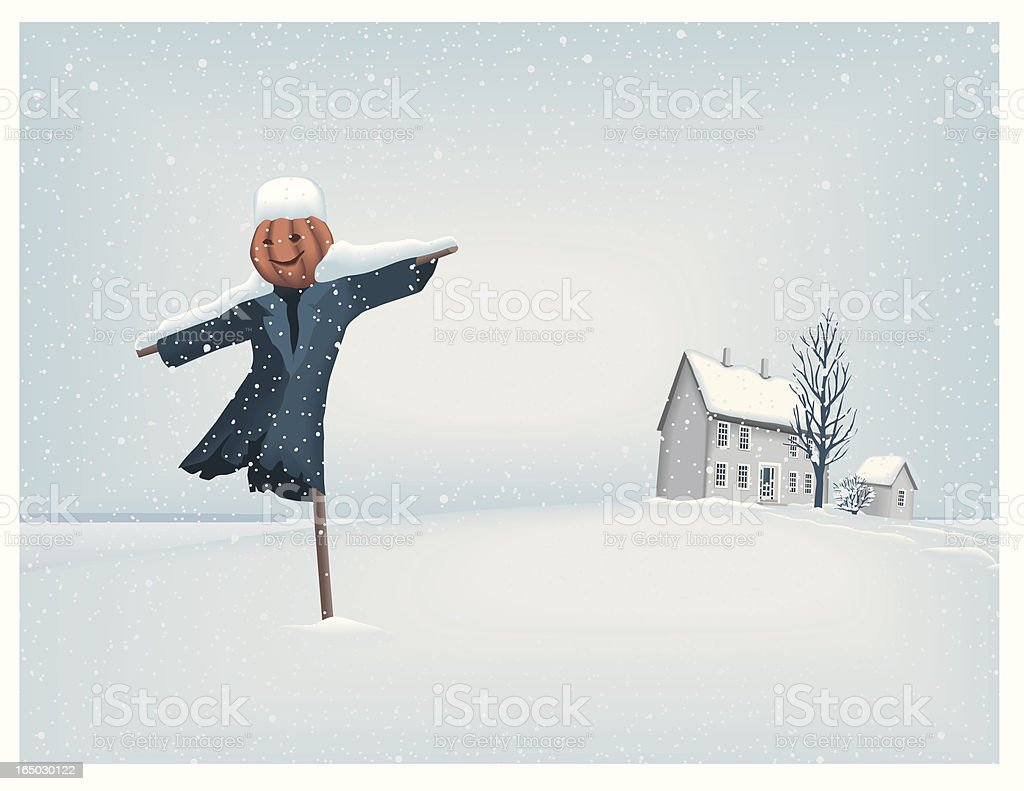 Scarecrow in winter landscape vector art illustration