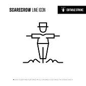 istock Scarecrow Line Icon - Editable Stroke 1201863565