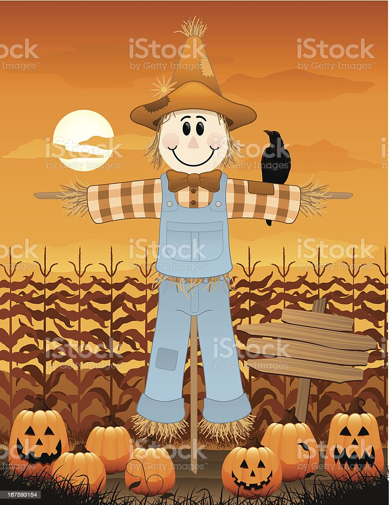 Scarecrow on the farm royalty-free stock vector art