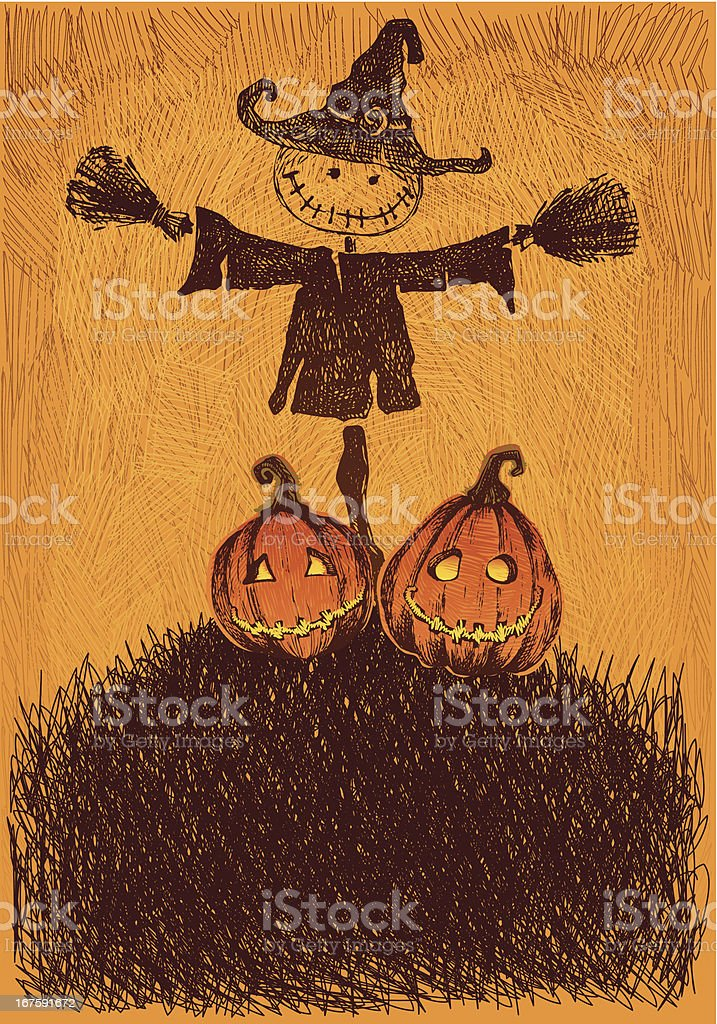 Scarecrow Pumpkin Background royalty-free scarecrow pumpkin background stock vector art & more images of autumn