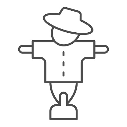 Scarecrow thin line icon, halloween concept, bogey in hat and shirt sign on white background, creepy protector of harvest icon in outline style for mobile concept and web design. Vector graphics.