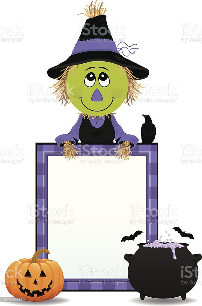 Scarecrow Witch Frame royalty-free stock vector art