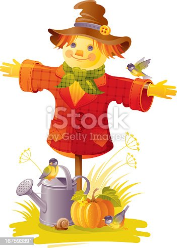 Sweet scarecrow in funny hat with tits, pumpkin and watering can. White background. CDR-11, AI 10, JPG.