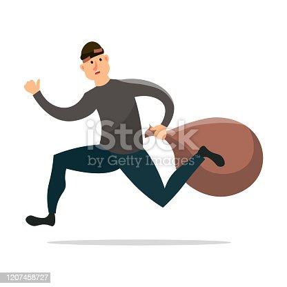 Scared burglar is running away with big money sack