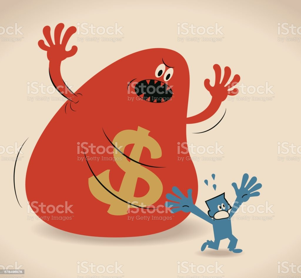 Scared businessman running (escaping) away from the money monster vector art illustration