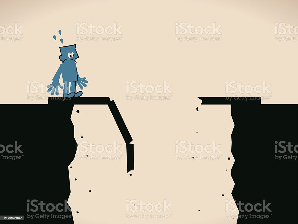 Scared businessman standing on the edge of a broken bridge vector art illustration
