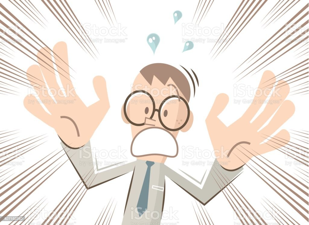 Scared businessman (man, nerd, student) with glasses is screaming and shouting, hand raised vector art illustration