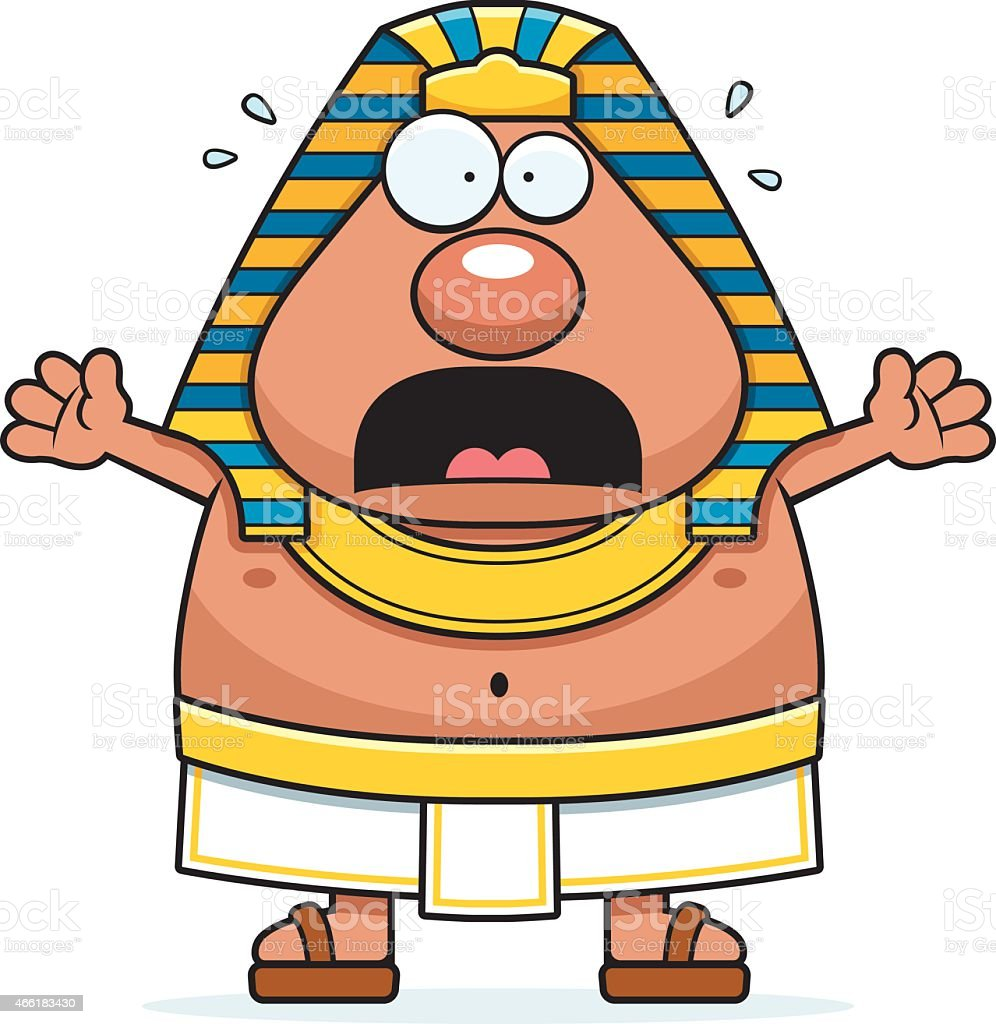 Scared Cartoon Egyptian Pharaoh vector art illustration