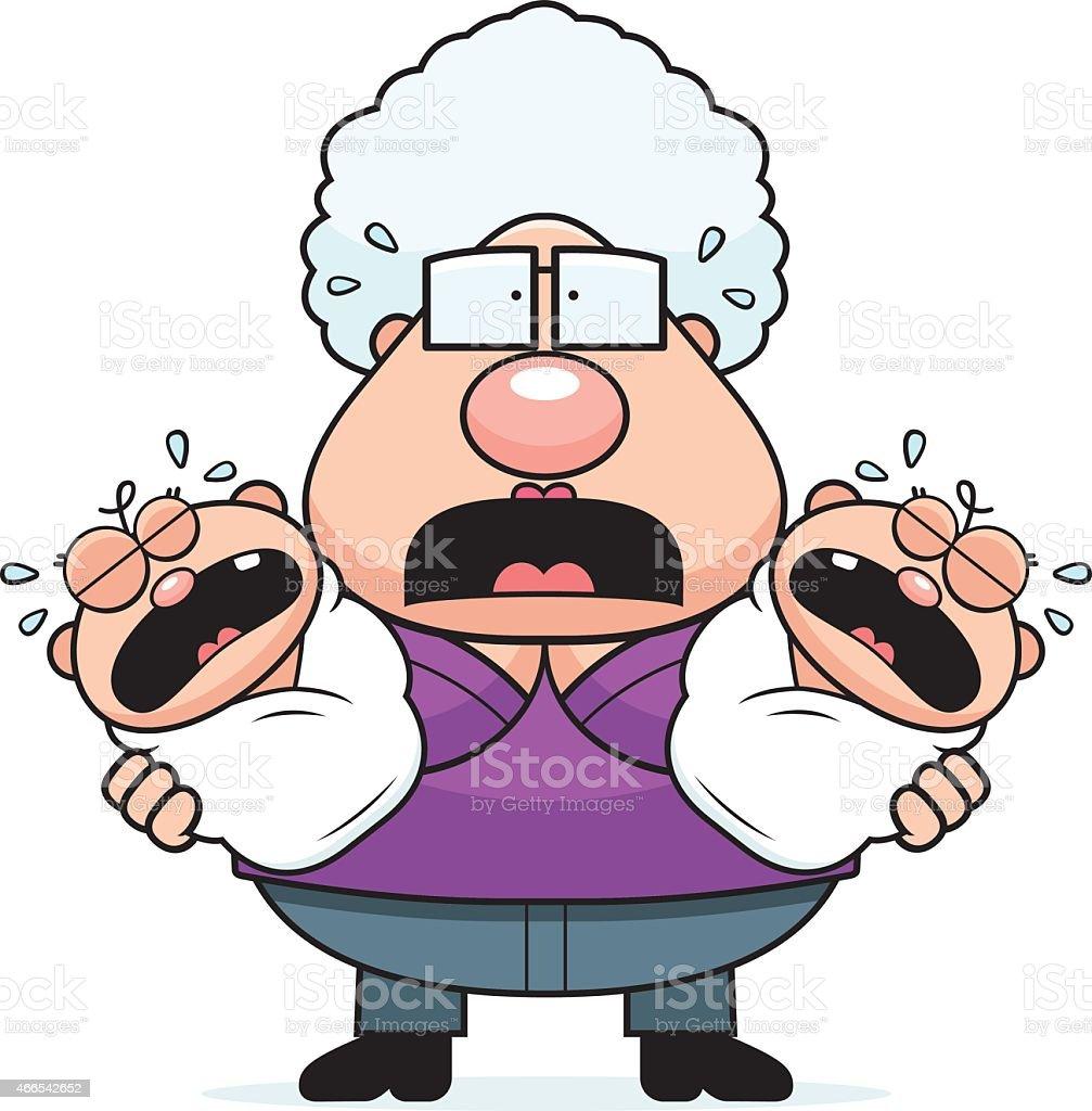 Scared Cartoon Grandma with Twins vector art illustration