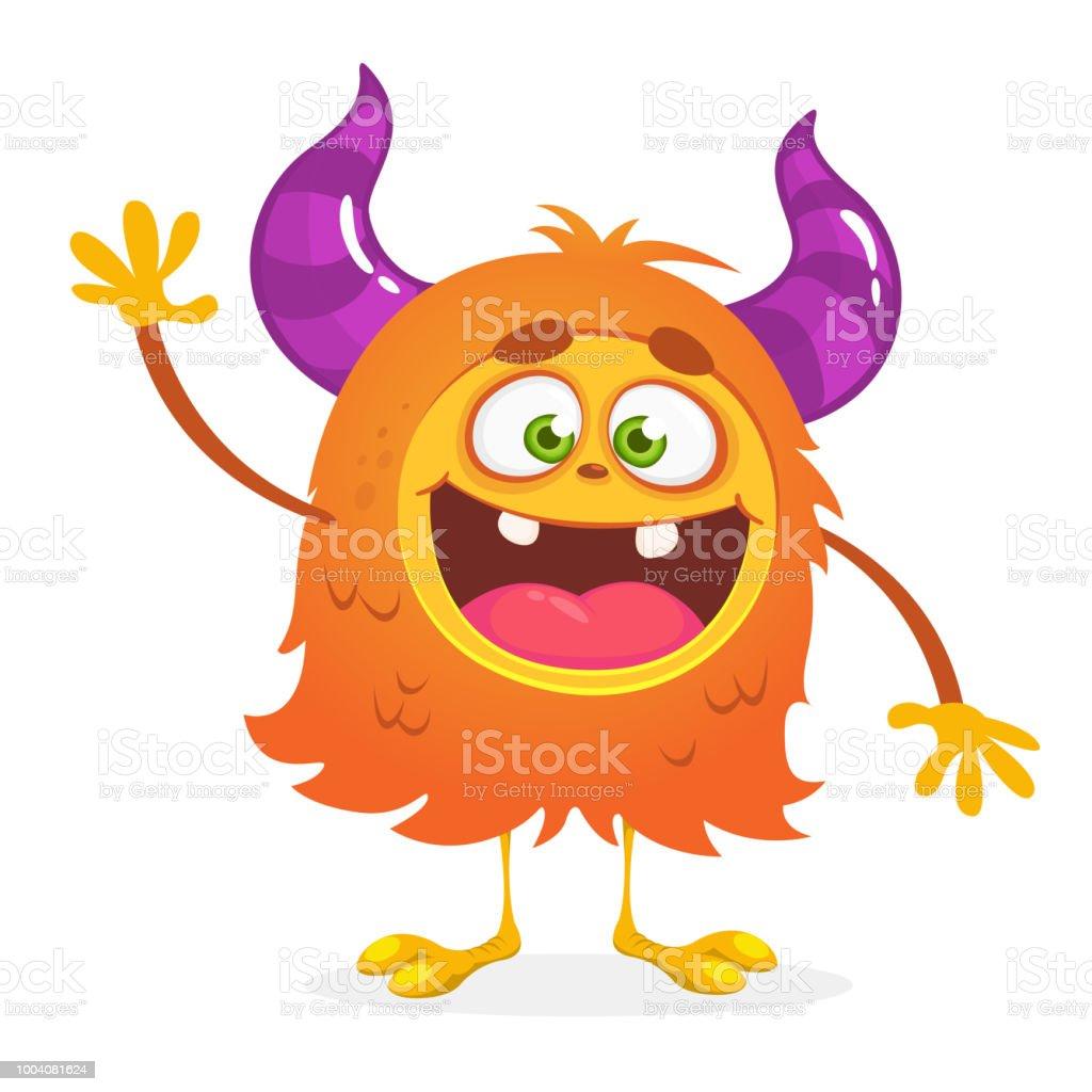 怖い漫画オレンジ モンスターを振るハロウィーンのベクトルかわいい