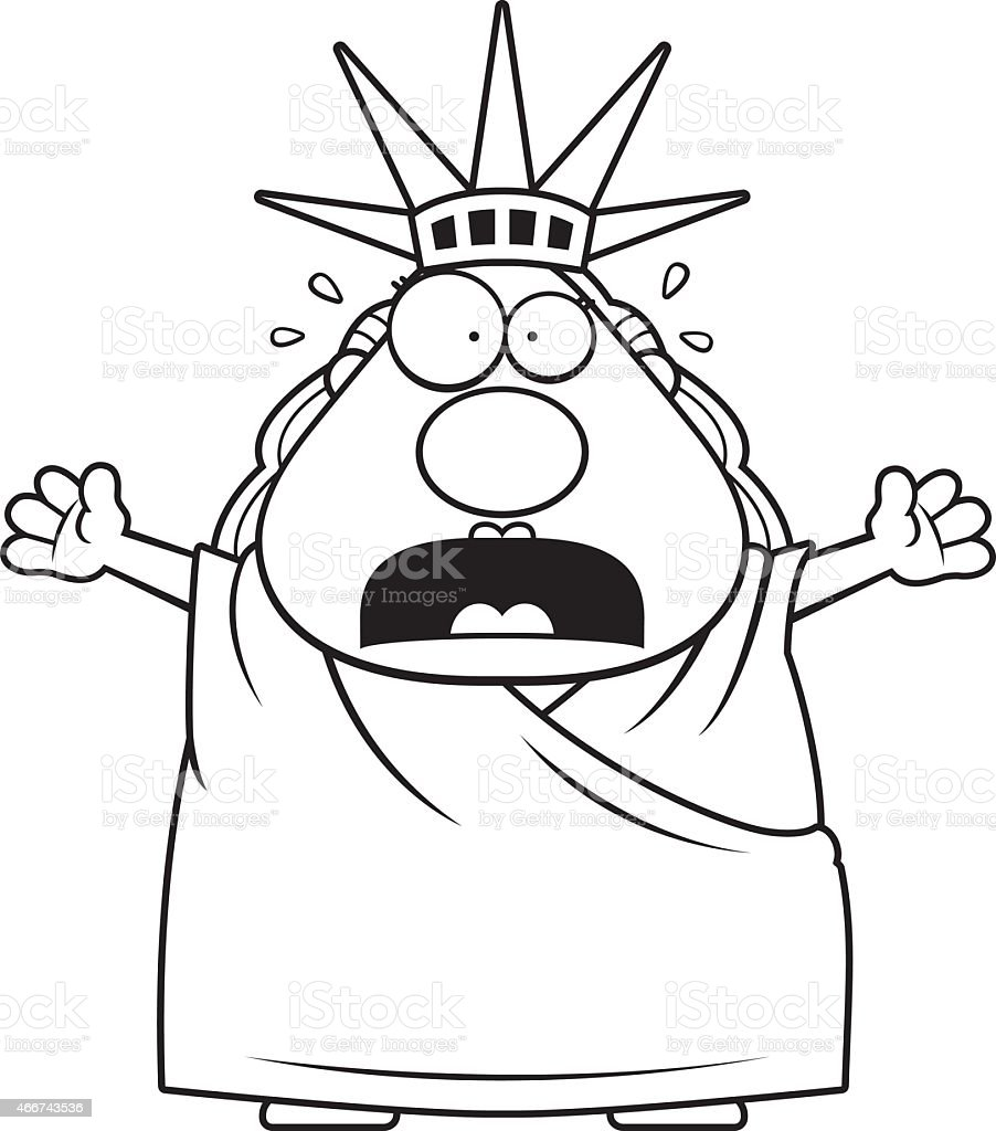 scared cartoon statue of liberty royalty free stock vector art