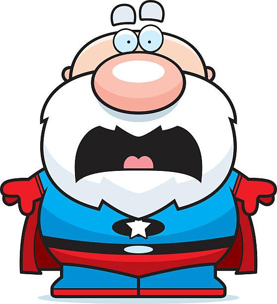 scared cartoon superhero grandpa - old man crying clip art stock illustrations, clip art, cartoons, & icons