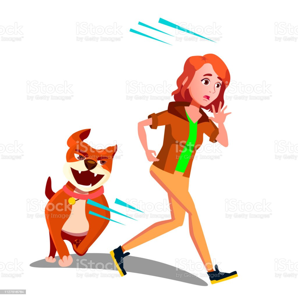 Scared Girl Runs Away From The Dog Vector Isolated ...