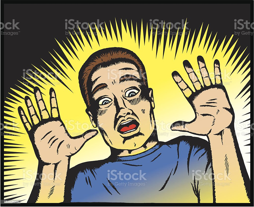 Scared man in old comic book style. royalty-free stock vector art
