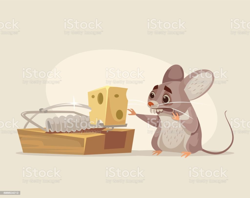 Scared mouse character trying to get cheese out of mousetrap - Royalty-free Addiction stock vector