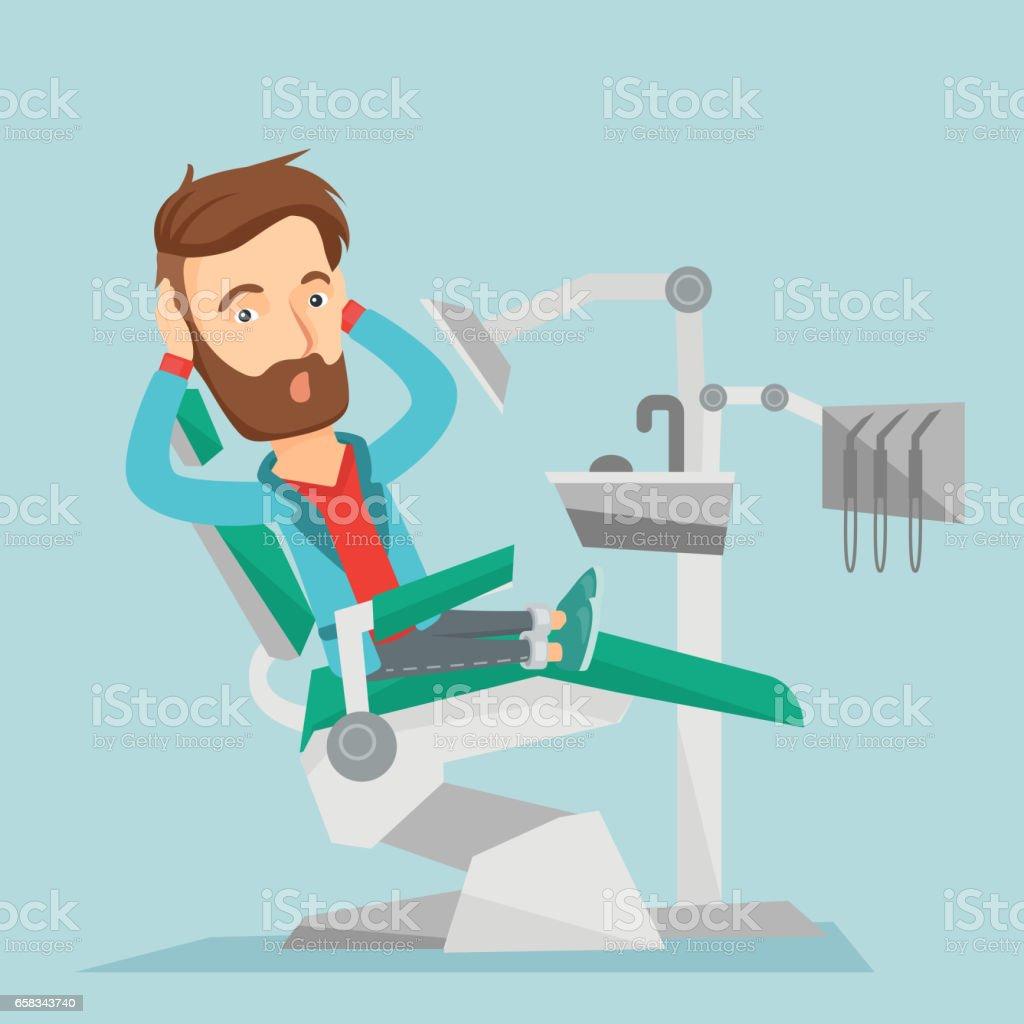 Scared patient in dental chair vector illustration vector art illustration