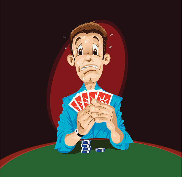 Scared Poker Player  cartable stock illustrations