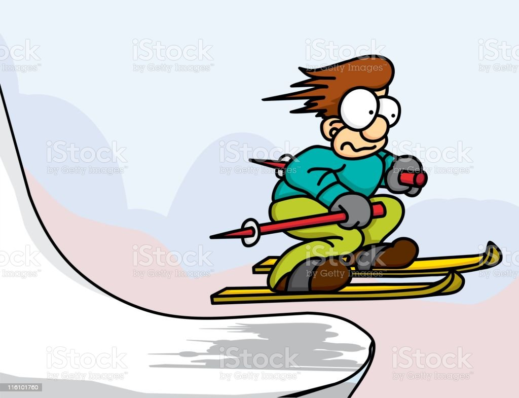 Scared Skier royalty-free stock vector art