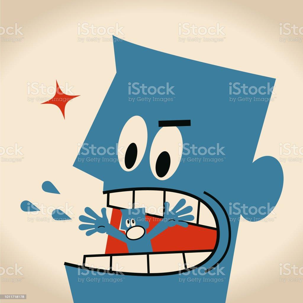 Miedo de pequeño empresario se come un hombre gigante - ilustración de arte vectorial