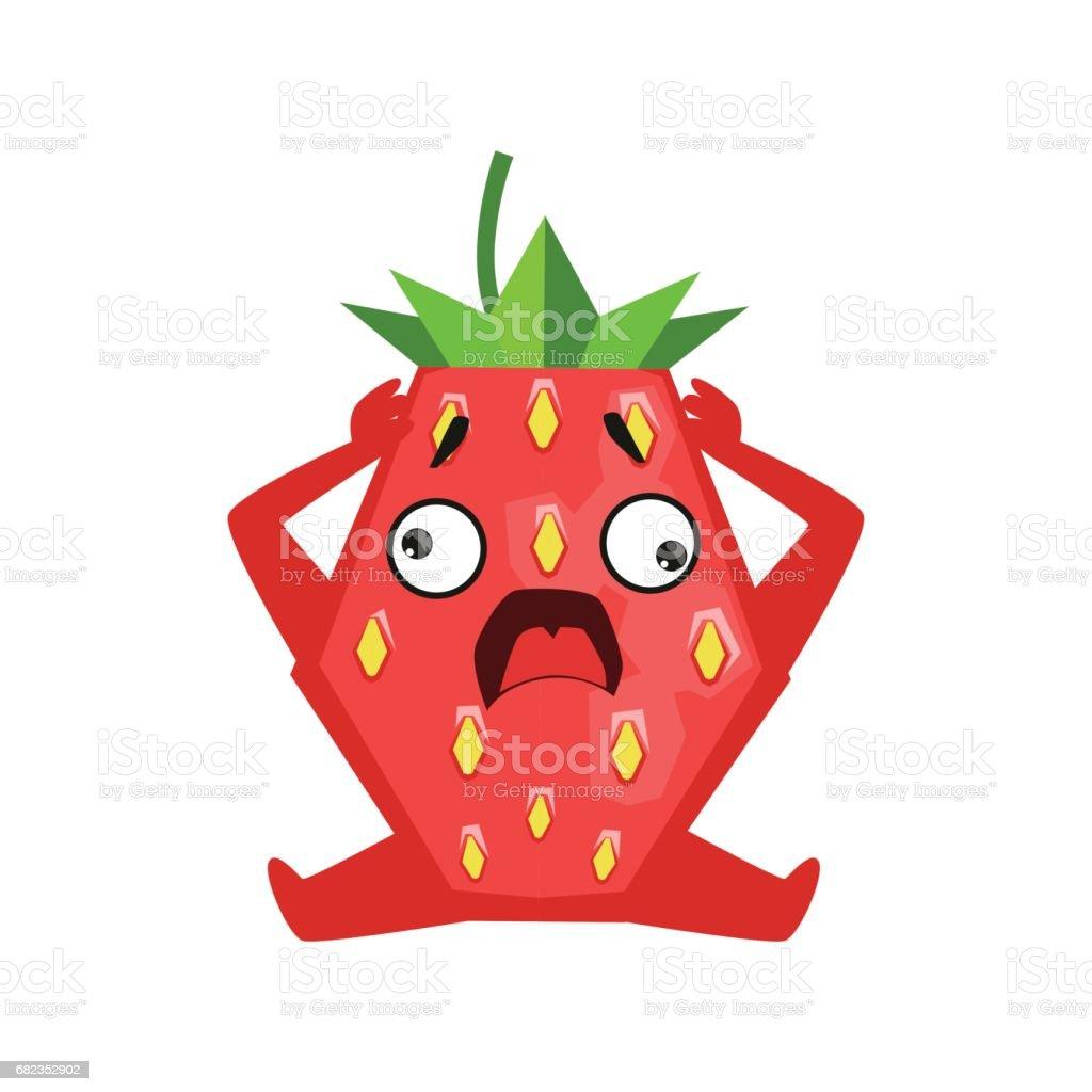 Scared strawberry sitting and holding its head. Cute cartoon emoji character vector Illustration ilustración de scared strawberry sitting and holding its head cute cartoon emoji character vector illustration y más banco de imágenes de alemania libre de derechos