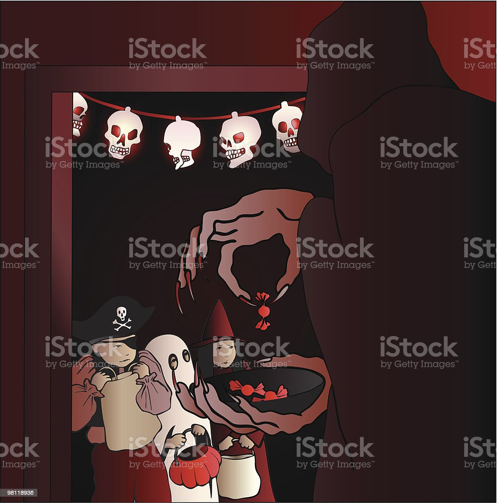 Scared Trick or Treaters royalty-free scared trick or treaters stock vector art & more images of boys