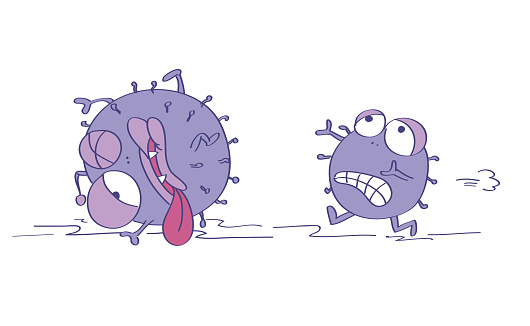Scared viruses, one is terrified and running away, escaping from something dangerous, the second one is already injured, almost dead. Original funny cartoon hand drawn illustration.