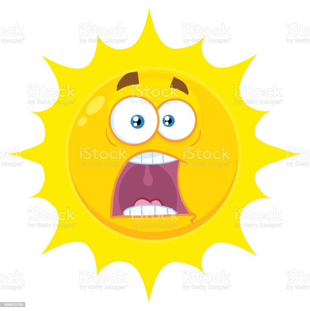 scared yellow sun cartoon emoji face character with expressions a