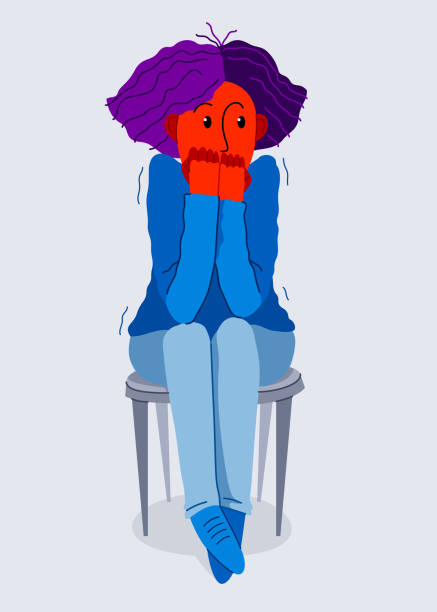 stockillustraties, clipart, cartoons en iconen met bange jonge vrouw die ongemakkelijke vectorillustratie voelt, fobieparanoia angst of ander psychisch en psychologisch problemenconcept, slechte emoties. - paranoïde