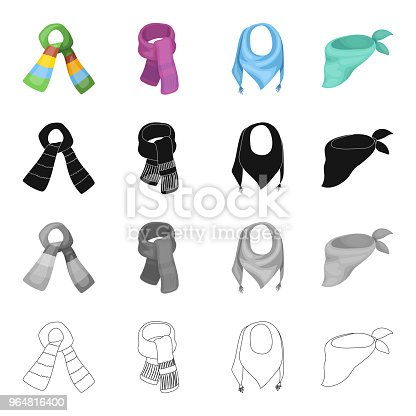 Scarf Accessories Clothing And Other Web Icon In Cartoon Styleknitwear Jewelry Textiles Icons In Set Collection Stock Vector Art & More Images of Clothing 964816400