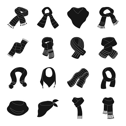 Scarf And Shawl Black Icons In Set Collection For Designclothes And Accessory Vector Symbol Stock Web Illustration - Arte vetorial de stock e mais imagens de Camisola