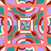 modern vintage stained glass floral style pattern