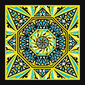 contemporary baroque pattern on yellow
