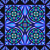 contemporary baroque pattern on blue