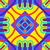 modern red circle and green rounded square geometric pattern on violet and yellow