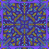 contemporary yellow arrow native pattern on violet
