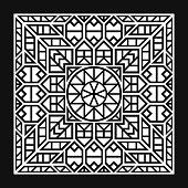 modern contemporary white ethnic geometric pattern on black