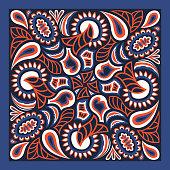 modern contemporary ethnic floral pattern on dark blue