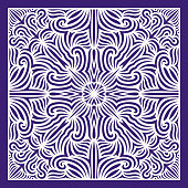 contemporary violet ethnic floral pattern on white