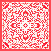 contemporary red ethnic floral pattern on white