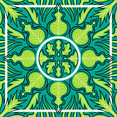contemporary multi ethnic green leaves pattern