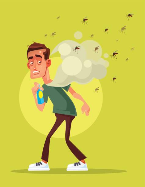 Scary afraid man fight with insect by spray Scary afraid man fight with insect by spray. Vector flat cartoon illustration swarm of insects stock illustrations
