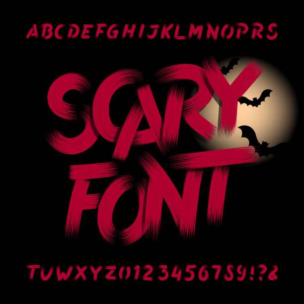 bildbanksillustrationer, clip art samt tecknat material och ikoner med skrämmande alfabetet teckensnitt. smutsiga bokstäver, siffror och symboler. - fasa