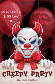 Scary angry evil clown with paper banner in the hand. Creepy party poster. Demonic circus illustration. Halloween background.