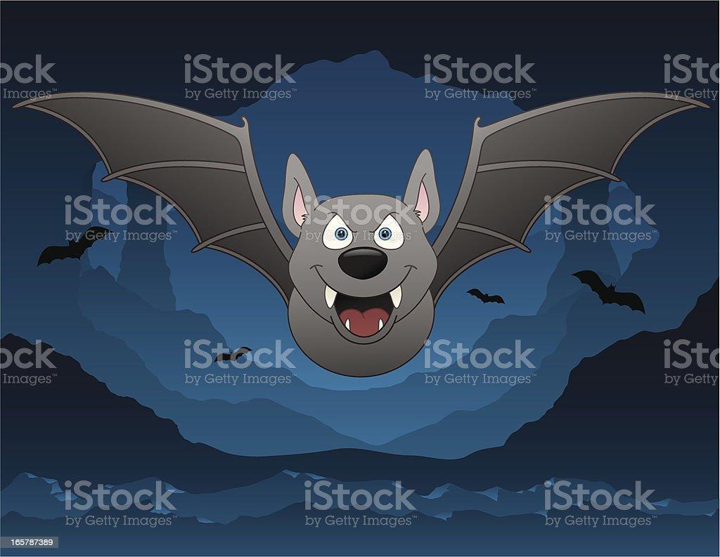 Scary Bat Cave vector art illustration