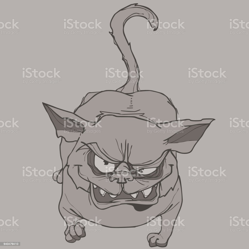 Scary Cartoon Cat Gets Angry And Shows His Teeth Stock