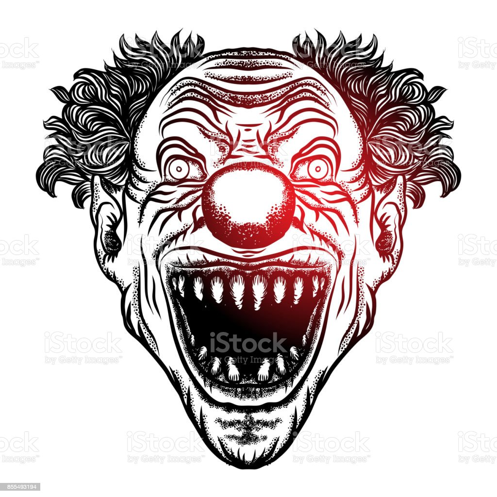Scary cartoon clown illustration. Blackwork adult flesh tattoo concept. Horror movie zombie clown face character. Vector. vector art illustration